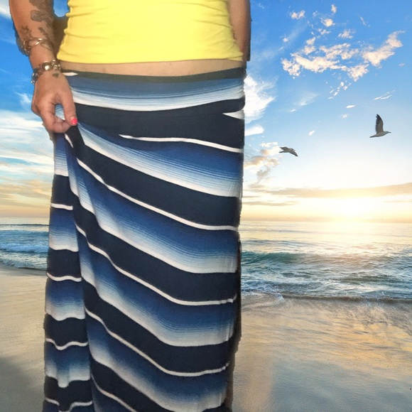 Merona Dresses & Skirts - Bright Blues Striped Maxi Skirt
